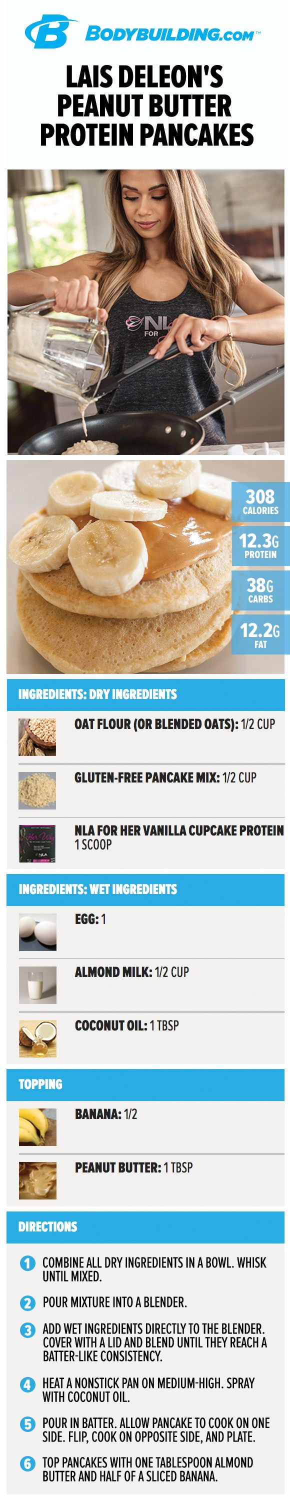 Lais DeLeon's Peanut Butter Protein Pancakes. Looking to add a protein punch to your morning meal? Try out these flapjacks, which combine the dual superpowers of protein and peanut butter into one glorious pancake experience!