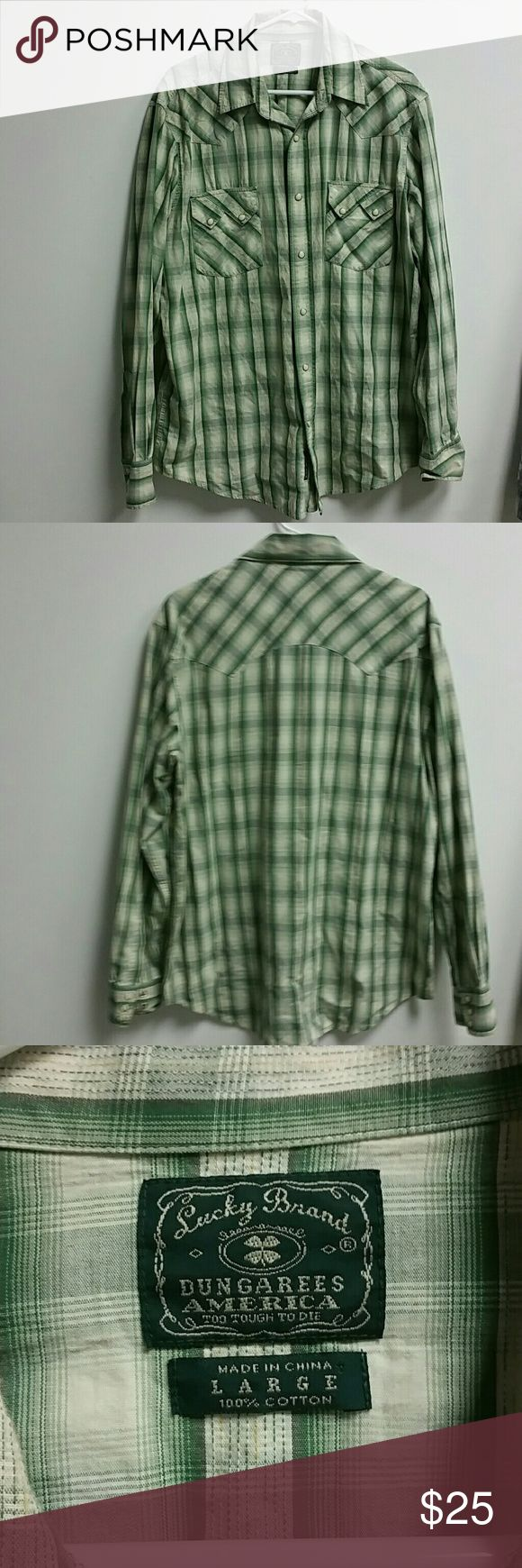 Mens Lucky Brand shirt 100%Cotton snap up shirt. Very good shape only worn a few times. Size Large. Lucky Brand Shirts Casual Button Down Shirts