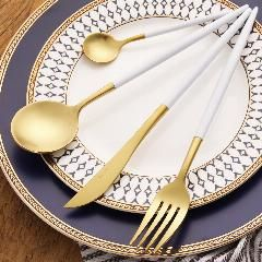 [ 20% OFF ] 4Pcs/lot Gold Sliverware Set 18/10 Stainless Steel Flatware Set Fork Knife Spoons Cutlery Set Restaurant Tableware Set