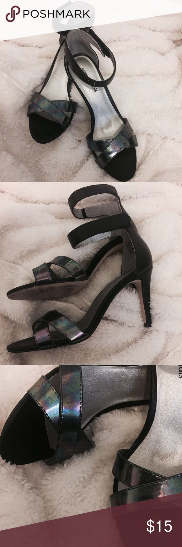 "Black stiletto heels 3.5"" iridescent heels by Seven Dials. Cross band stilettos with adjustable velcro strap. Only wore these once! Seven Dials Shoes Heels"