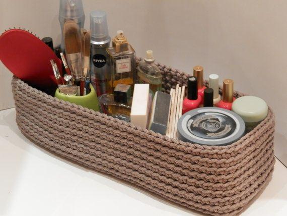Crochet rope box/knitted basket/toiletries/housewarming gift/color rope basket/gray box/handmade basket