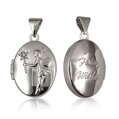 "Locket - FAIRY DIAMOND OVAL - Sterling Silver. Enchanting words, ""Fairy Wishes"", are embossed on the back of this sweet little locket. The Fairy's wand is also set with a tiny first diamond! An oval shaped, sterling silver locket to bring a sparkle of fairy magic into a girl's life!"