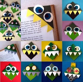 Manuales monster bookmarks - super adorable! cute for a back to school  DIY! #kids #crafts