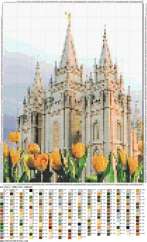 Salt Lake Temple (3) - pattern - cross stitch/ Templo de Salt Lake gráfico ponto cruz