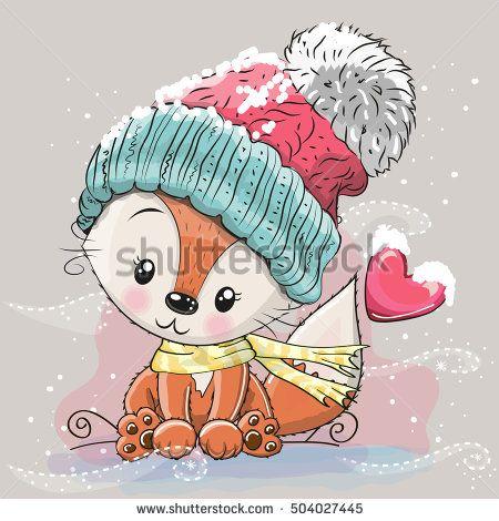 Cute Cartoon Fox in a knitted cap sits on a snow