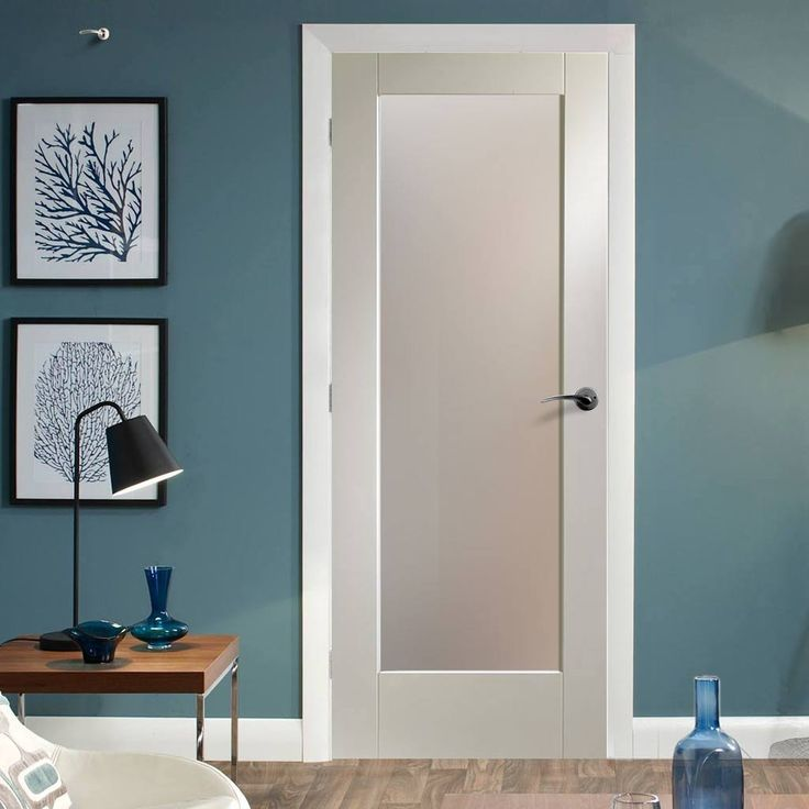 Pattern 10 full pane white primed door with obscure safety for 10 panel glazed door