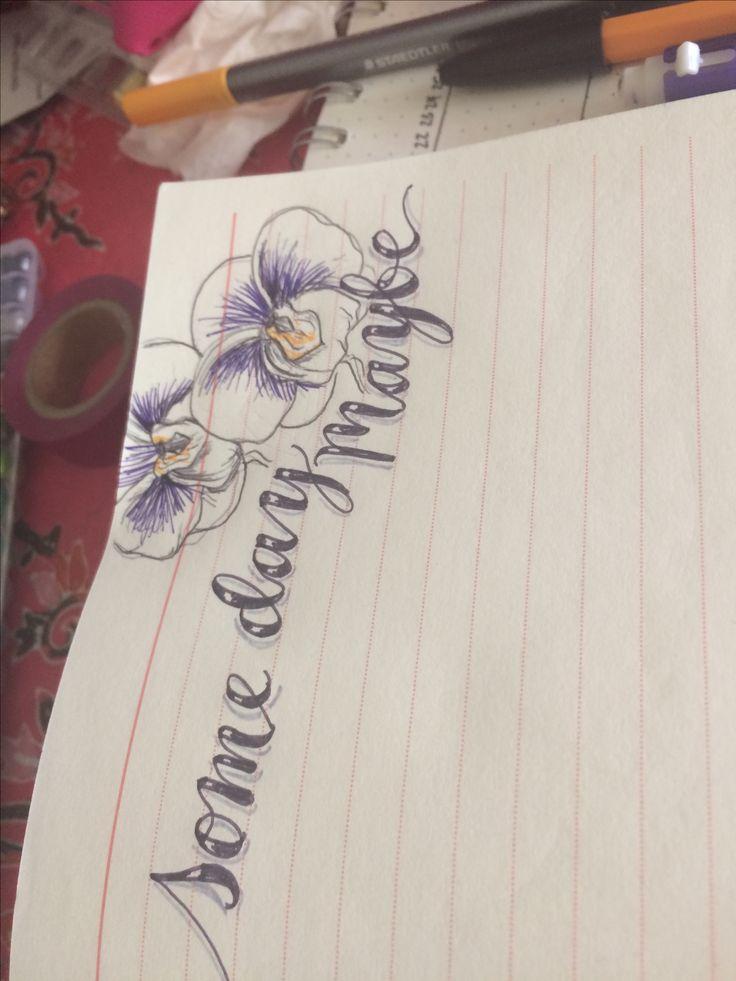Hand lettering flower doodles