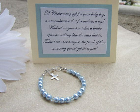 Boys Christening and Baptism Bracelet, Blue Pearls and Crystals, Sterling Silver Cross, Heirloom