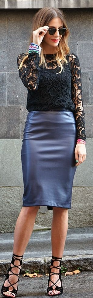 Dark blue faux leather pencil midi skirt styled with a black lace top. Love navy & black together--so elongating and slimming.)