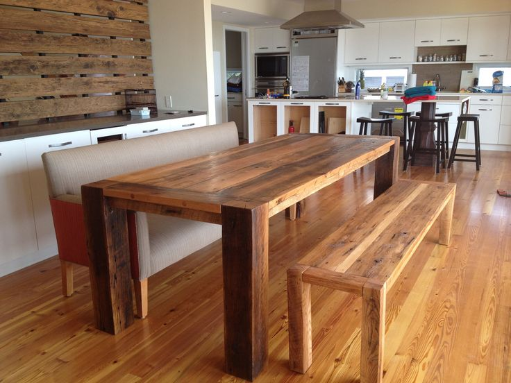 awesome interior design upholstered bench reclaimed wood dining table. beautiful ideas. Home Design Ideas