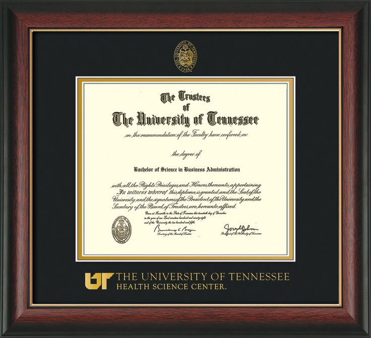 University of Tennessee Health Science Center Diploma Frame - Rosewood w/Gold Lip - w/UT Embossed Seal