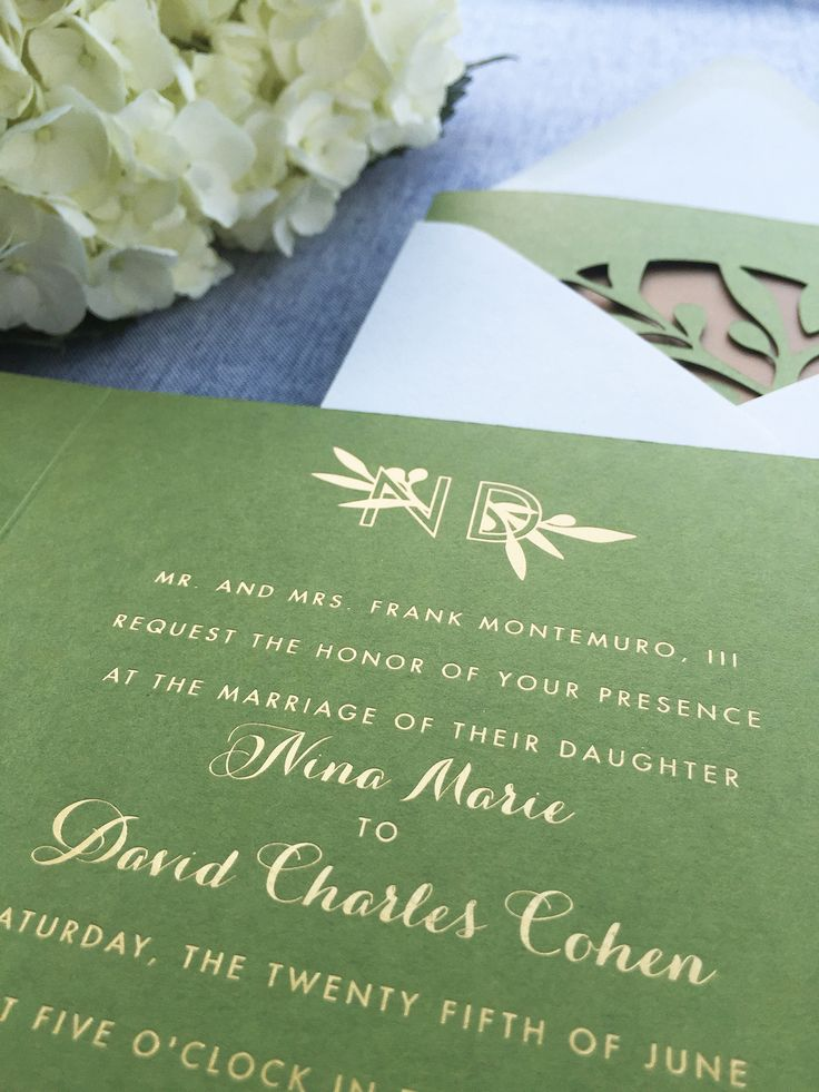 Modern Lasercut Olive and Gold Foil Wedding
