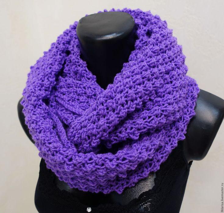 """Купить шарф-снуд """"ежевика"""" - фиолетовый, красивый подарок, снуд вязаный, снуд женский"""