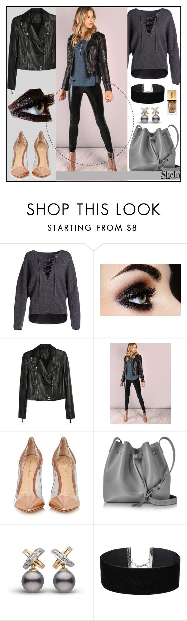 """Shein black leggings"" by meljoh ❤ liked on Polyvore featuring Vince, Paige Denim, Gianvito Rossi, Lancaster, Miss Selfridge, Yves Saint Laurent, contest, Sheinside, contestentry and shein"