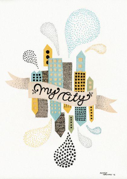 Michelle Carlslund illustration My City White