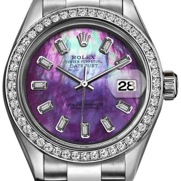 Pre-owned Rolex Datejust Stainless Steel with Purple Rainbow Dial 26mm... ($4,199) ❤ liked on Polyvore featuring jewelry, watches, stainless steel watches, purple jewellery, stainless steel wrist watch, rolex watches and unicorn jewelry