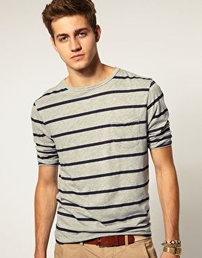 ASOS 3/4 Sleeve Top With Pocket: Striped Shirts, 3 4 Sleeve, Pocket, Mens Style, Mens Fashion, Asos 3 4, Guys Wear