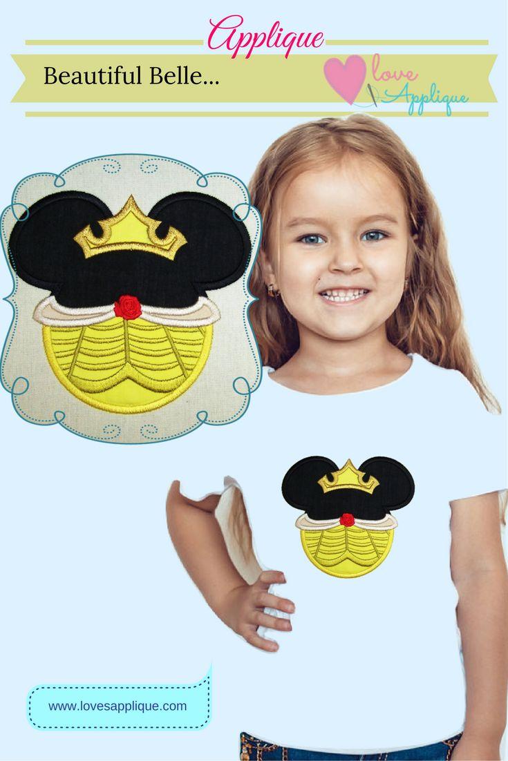 Beauty and the Beast Applique. Belle Applique. Princess Applique. Princess Belle. Disney Princess APplique. Disney designs. Disney Applique Designs. www.lovesapplique.com