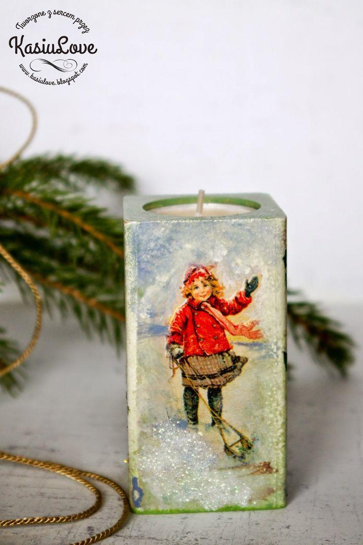 świecznik decoupage // candle holder
