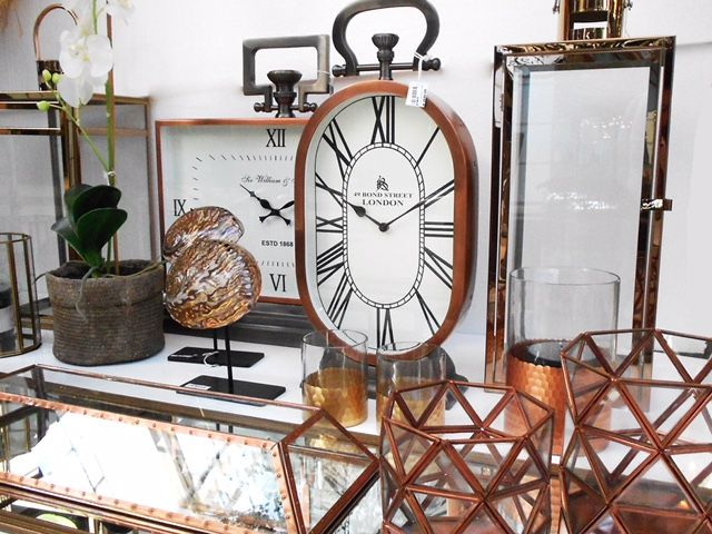 Copper clocks and decor