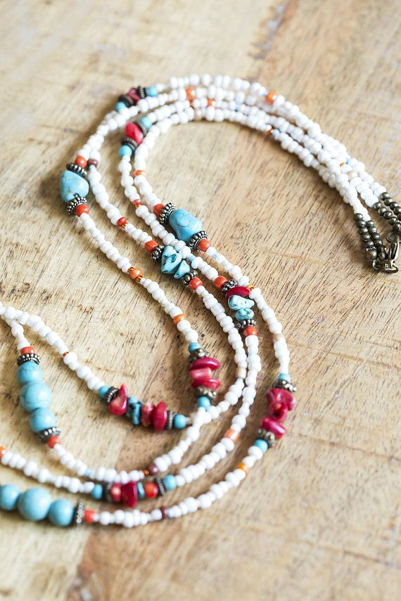 Beachy Turquoise and Coral Beaded Necklace