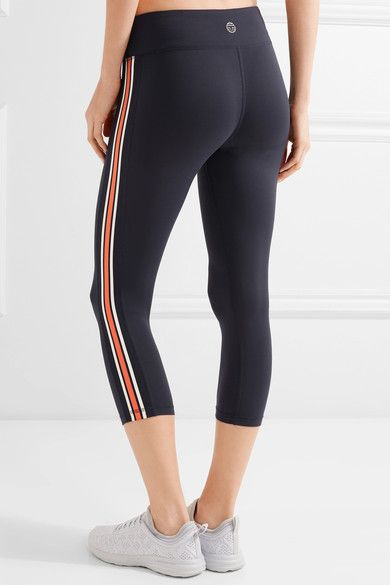 Tory Sport - Cropped Striped Stretch-tactel® Leggings - Navy - x large