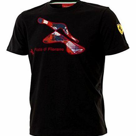 Ferrari Scuderia Ferrari F1 Team Fiorano Track Mens Black T-Shirt XX-Large Black T-shirt with a full colour picture and graphic of the Ferrari test track at Fiorano near Maranello in Italy printed in on the front. There is a small Ferrari pranci (Barcode EAN = 7332502203508) http://www.comparestoreprices.co.uk/formula-1-merchandise/ferrari-scuderia-ferrari-f1-team-fiorano-track-mens-black-t-shirt-xx-large.asp