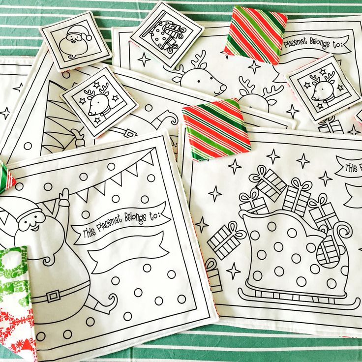 Christmas colour-in placemats. This will keep the kids busy. 5 available.                $15.00 + post. Fabric pens $6. www.facebook.com/kaleidoscopeofdesigns