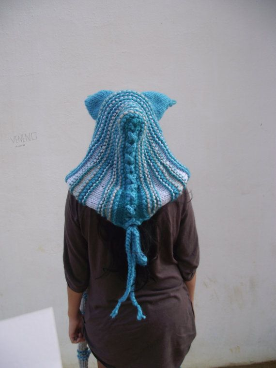 Knitting Pattern Hood With Ears : Cat ears Hoodie Scarf Cheshire Cat Costume Scarf with Hood ...