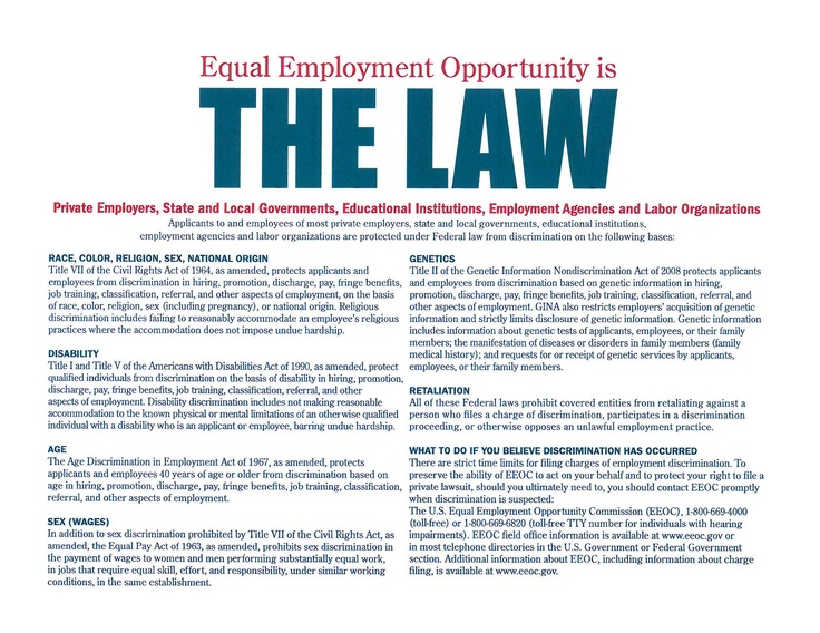 EEOC PosterFree from the Federal Department of Labor2
