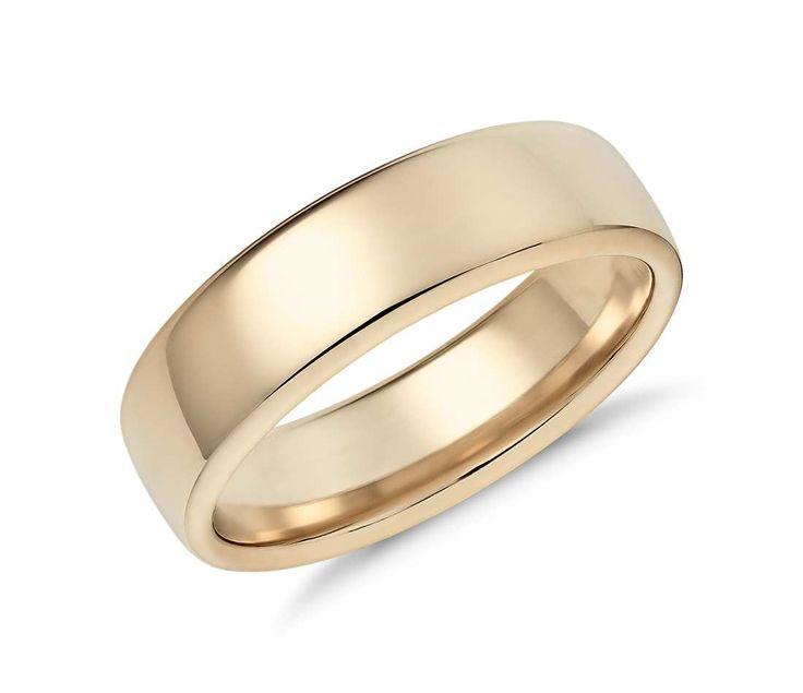 Popular Modern Comfort Fit Wedding Ring in k Yellow Gold mm
