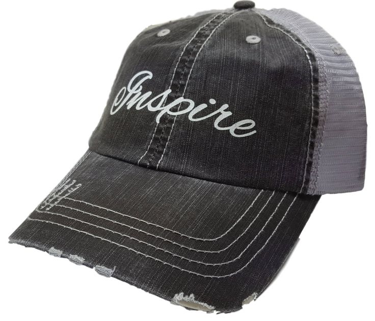 "Women's Baseball Caps, ""Inspire"" Distressed Glitter Ladies Trucker Baseball Hat Cap, Womens Hats, Womens Caps, Womens Baseball Cap, Women by MBellishedHats on Etsy"