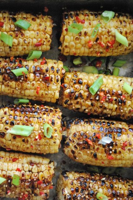 spicy hoisin and sesame glazed corn. i feel  grilling weather coming on!