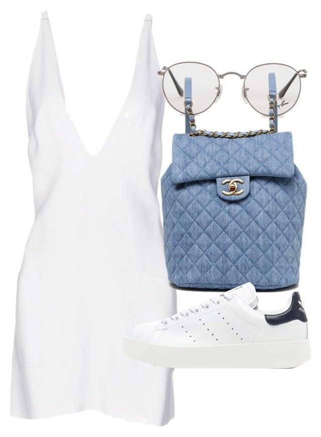 """""""Untitled #21243"""" by florencia95 ❤️ liked on Polyvore featuring Christopher Kane, Ray-Ban, Chanel and adidas Originals"""