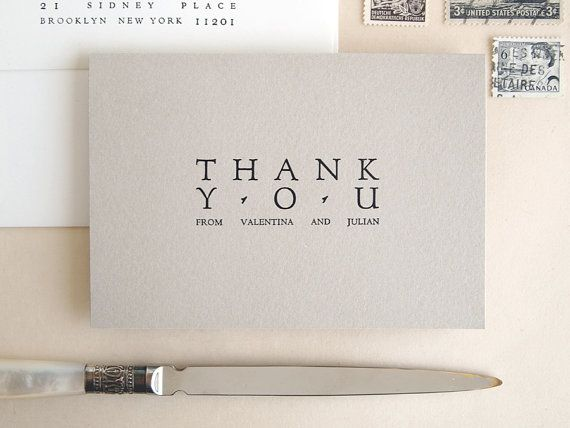 Wedding Thank You Card Set Forum Letterpress Printed Bulk Gray And White