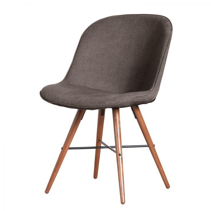 Gestoffeerde stoelen Clam (2-delige set) - geweven stof - Bruin/Walnoothouten