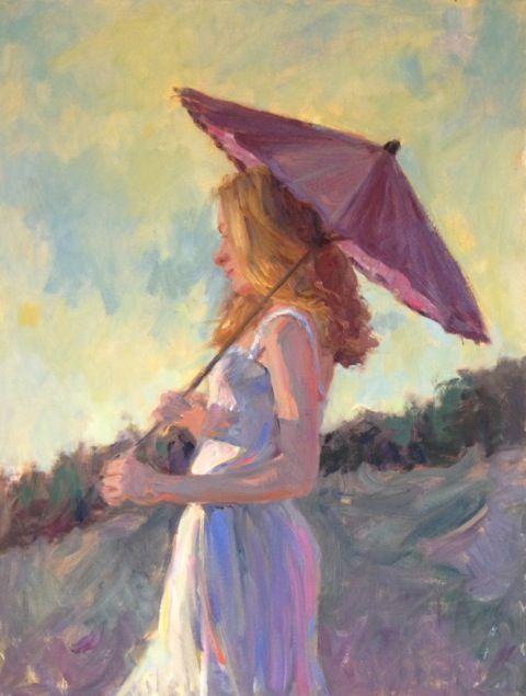 """Just Before You Asked"" Kristin Clark 28"" x 22"" Oil #art #artwork #paint #artist #painting #fineart #oil #oilpainting #braziergallery #kristinclark #girl #woman #parasol #umbrella #spring #summer"