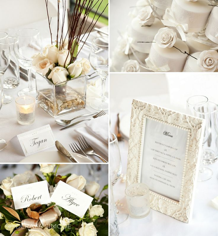 White roses, bride and groom place cards, ornate framed menu, cupcake wedding cake. Classic and romantic white wedding reception styling, ideas and inspiration. Reception Venue: Sittella Winery, Swan Valley WA Photography by DeRay & Simcoe