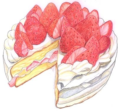 strawberry cake illustration! <3