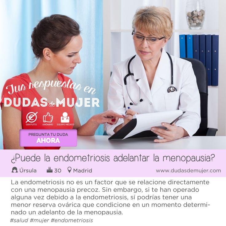 ¿Puede la endometriosis adelantar la menopausia? La endometriosis no es un factor que se relacione directamente con una menopausia precoz. Sin embargo, si te han operado alguna vez debido a la endometriosis, sí podrías tener una menor reserva ovárica que condicione en un momento determinado un adelanto de la menopausia. #salud #mujer #endometriosis Encuentra mucho más en dudasdemujer.com