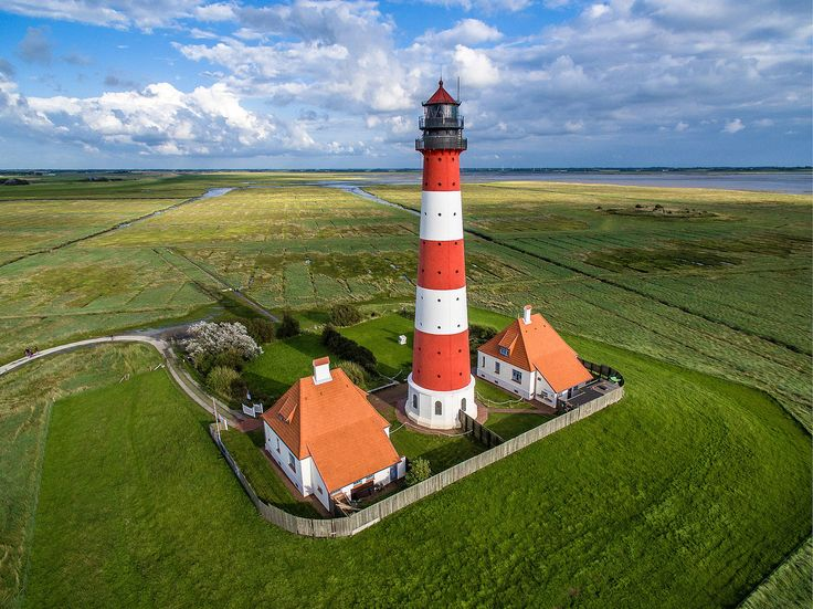 Aerial photograph of Westerheversand Lighthouse in Germany. Photo by Marco Leiter.