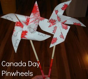 2 Big, 2 Little: Canada Day Pinwheels, use flag or blue and white paper for USA independence day.