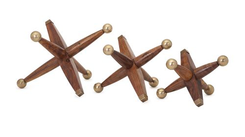 "Beth Kushnick Wood and Metal Jacks - Set of 3 7.25-9.25-11.5""""h x 8.5-10-12"""""
