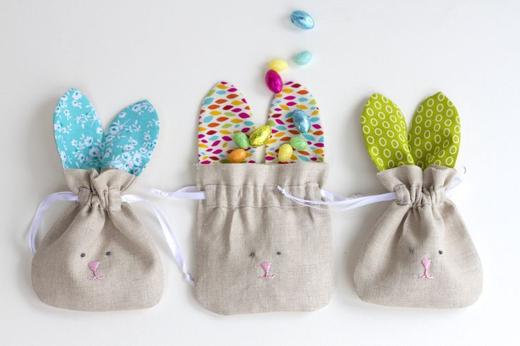 Today I'm sharing these simple Drawstring Bunny Bags that are really quick to sew up...and are perfect for this time of year!                                                                                                                                                                                 More