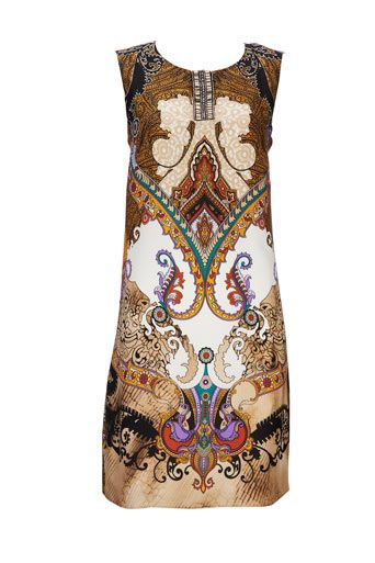 Brown Paisley Print Shift Dress