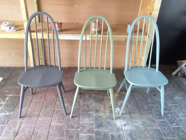 Vintage Ercol chairs painted in General Finishes Milk Paint in (left to right) Driftwood, Basil and Persian Blue.