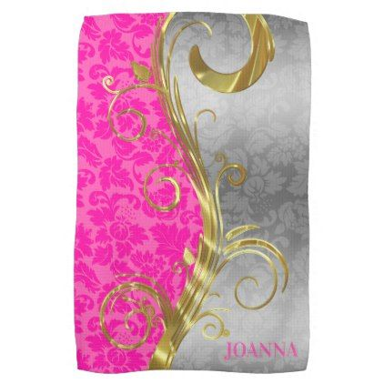 Elegant Pink Damasks Gold & Silver Swirls Towel - floral style flower flowers stylish diy personalize