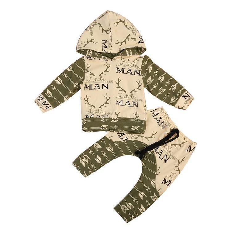 Little Man Baby Boy Arrow & Deer Hoodie and Pants Outfit