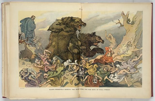 "Elisha Roosevelt sicketh the bears upon the bad boys of Wall Street Illustration shows Theodore Roosevelt standing on a hill in the background as two large bears labeled ""Interstate Commerce Commission"" and ""Federal Courts"" break-up a crowd of Wall Street capitalists and stock market manipulators, causing them to scatter in all directions."