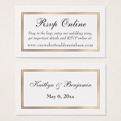 Gold Bordered White RSVP Online Insert Cards Rsvp Pinterest